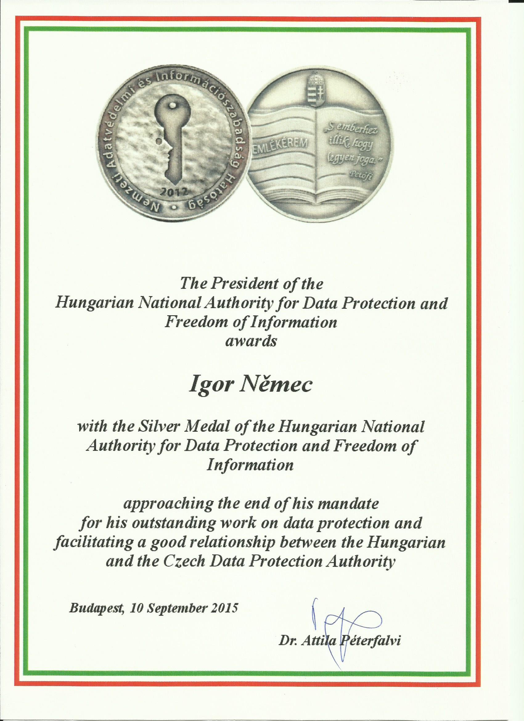 Maďarské ocenění 2015